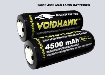 LITHIUM-ION RECHARGEABLE BATTERIES 3.7v 4500mAh 26650 PROTECTED