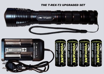 T-REX-T2 DELUXE SET – Flashlight + 4X 26650 Battery & Dual Charger