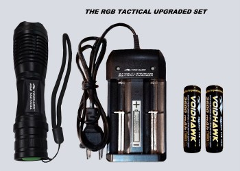 RGB TACTICAL DELUXE SET – Flashlight + 2X 18650 Battery & Dual Charger