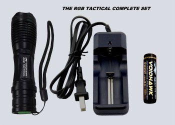 RGB TACTICAL SET – Flashlight + 18650 Battery & Charger