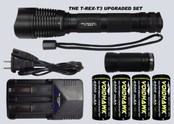 T-REX-T3 DELUXE SET – Flashlight + 4X 26650 Batteries, Dual Charger, ext tube