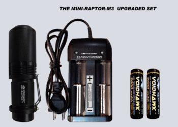 MINI-RAPTOR-M3 UPGRADED SET – Flashlight + 2X 18650 Battery & Dual Charger