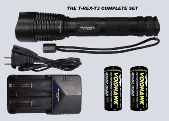 T-REX-T3 SET – Flashlight + 2X 26650 Battery & Dual Charger